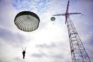 Airborne Students being dropped from the 250 ft tower.